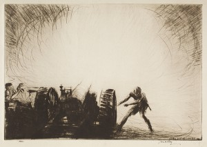 Zero. A Sixty-Five Pounder Opening Fire, 1920, James McBey