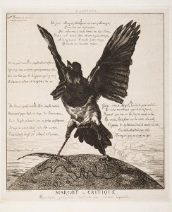 """Margot the Critique, or The Magpie,"" 1854, Félix Bracquemond, Etching on chine collé, Gift of Frank Raysor, 2013.345"