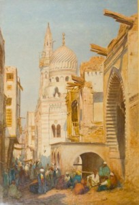 """The Old and New Mosques, Ali Hassimin and Sultan El Carmel, Cairo"" by Louis Tiffany Comfort (1876)"