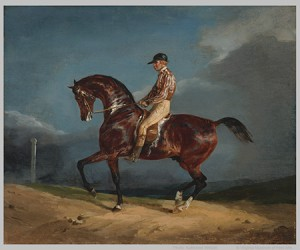 Theodore Géricault, Mounted Jockey, ca. 1821-22, oil on canvas. Collection of Mr. and Mrs. Paul Mellon, 85.497