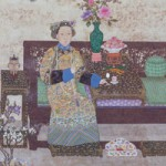 Empress Dowager Cixi Taking Snuff, hanging scroll detail, from The Palace Museum