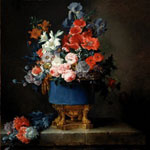 Anne Vallayer-Coster (French, 1744–1818) Bouquet of Flowers in a Blue Porcelain Vase, 1777 Oil on canvas