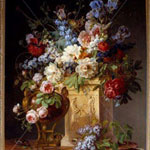 Gerard van Spaendonck (Dutch, 1756–1840, active in France) Basket of Flowers on an Alabaster Pedestal, 1785 Oil on canvas
