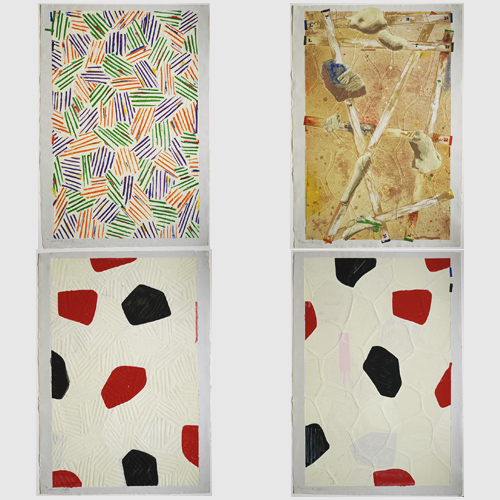 Four Panels From Untitled 1972, 1974, Jasper Johns (American, born 1930), lithographs with embossing. Courtesy of Gemini G.E.L., Los Angeles