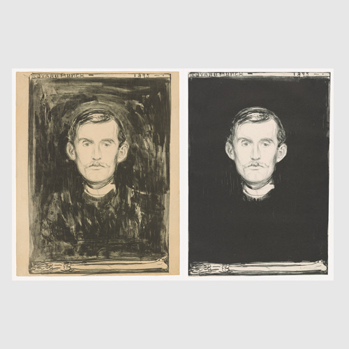 Edvard Munch (Norwegian, 1863–1944) Self-portrait (with Skeleton Arm) 1895 (all three states) Lithograph Munch Museum