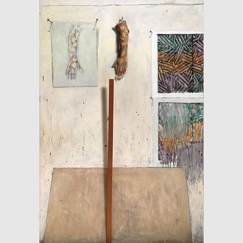 Jasper Johns (American, born 1930) In the Studio 1982 Encaustic and collage on canvas with objects Collection of the artist