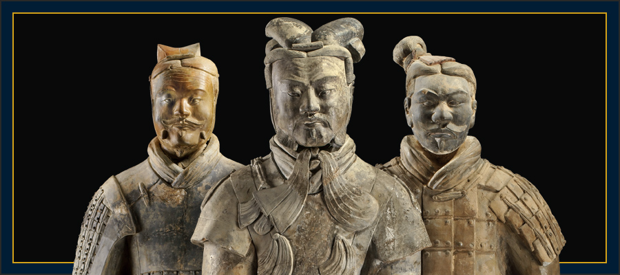 Image of the First Emperor's three soldiers from the terracotta army